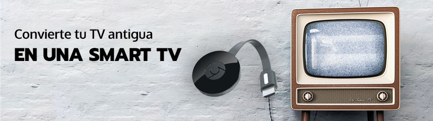 Una televisión antigua con un dispositivo Chromecast