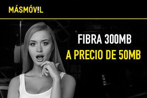 Descubre las ofertas de MásMóvil con Fibra 300Mb a precio de 50Mb